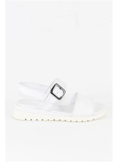 Modabuymus Modabuymus Hakiki Deri Yumuşak nlı Tek Bantlı Kadın  Sandalet - Milano Beyaz